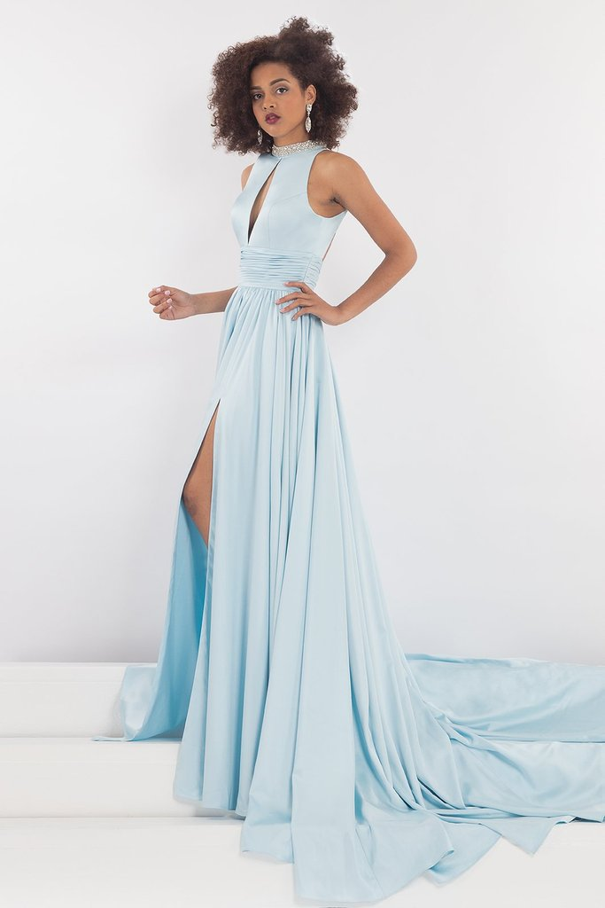 Rachel Allan - 5035 Plunging Cutout Bejeweled High Neck Gown in Blue