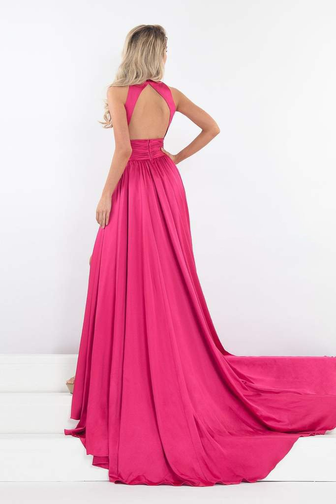Rachel Allan - 5035 Plunging Cutout Bejeweled High Neck Gown in Pink