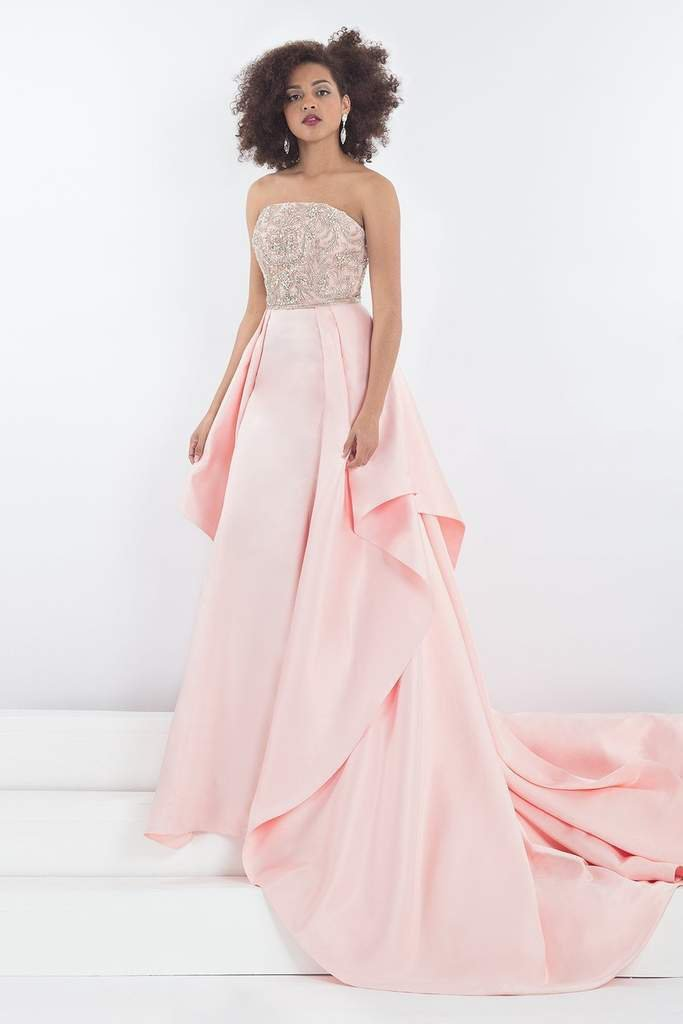 Rachel Allan - 5036 Jeweled Strapless Gown with Overskirt in Pink