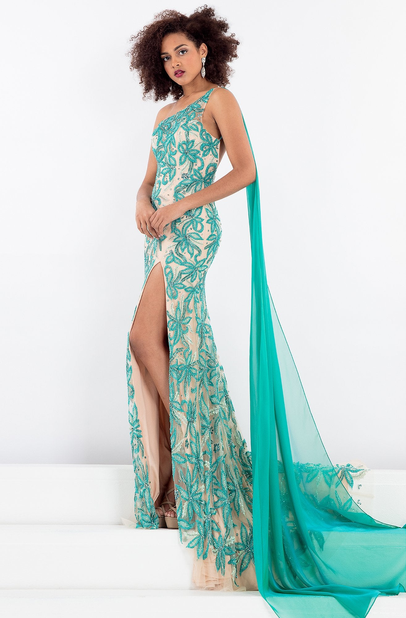 Rachel Allan - 5045 Asymmetrical Floral Gown with Slit in Green and Neutral