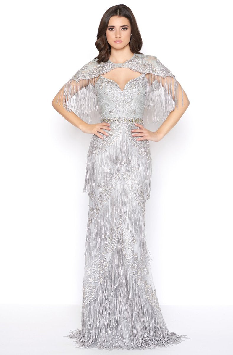 Mac Duggal - 50500D Embellished Fringed Sheath Evening Gown in Silver