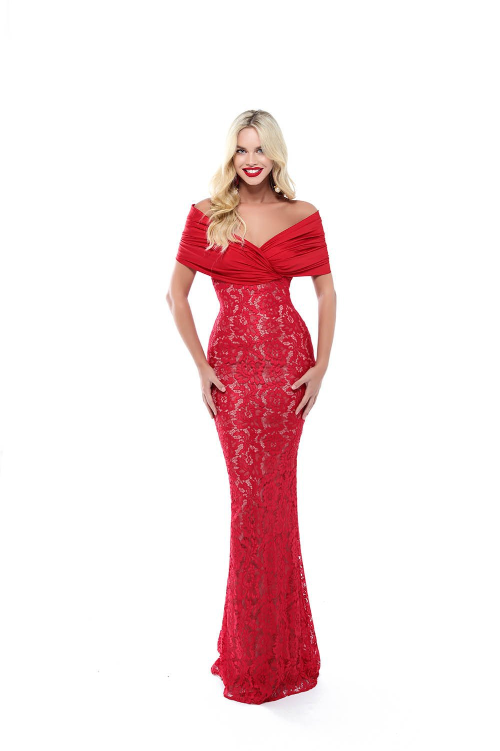 Tarik Ediz - 50506 Ruched Off Shoulder Lace Mermaid Gown Evening Dresses 2 / Red