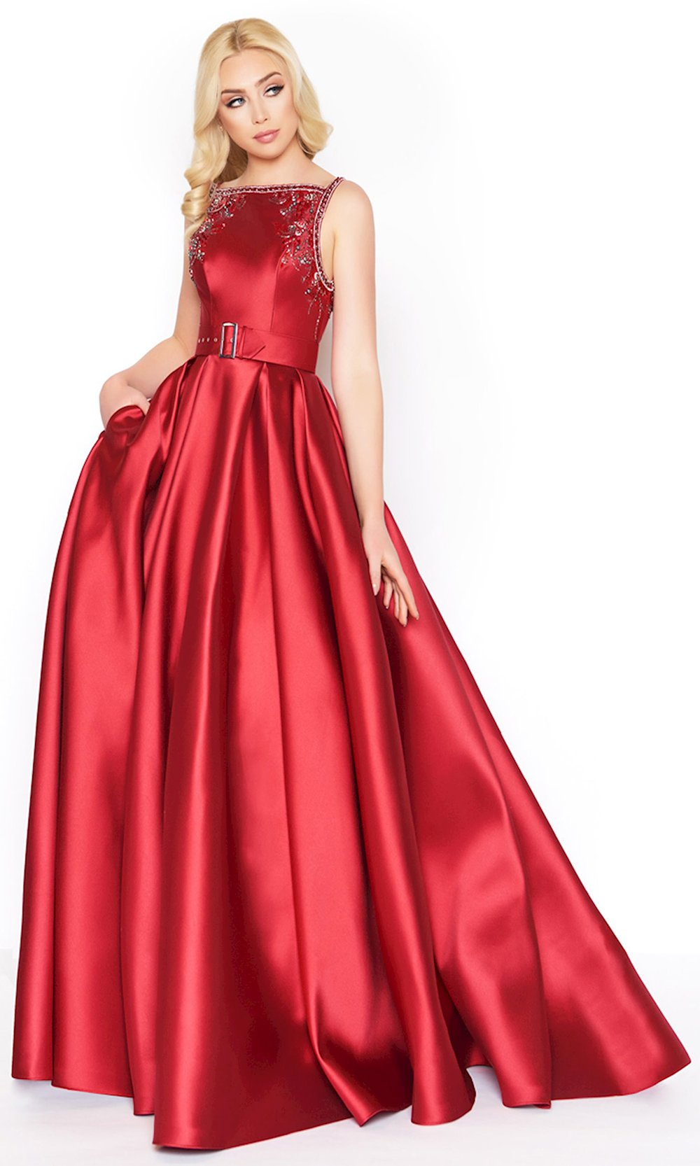 Mac Duggal - 50509D Beaded Bateau Ballgown With Train in Red