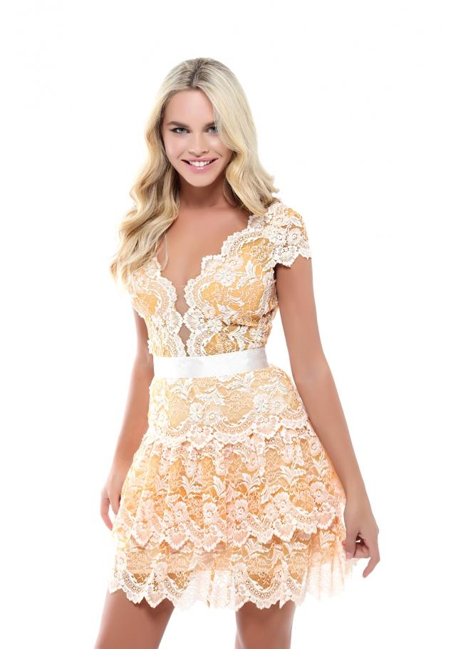 Tarik Ediz - 50545 Allover Lace Illusion Plunging Neck Cocktail Dress In Yellow