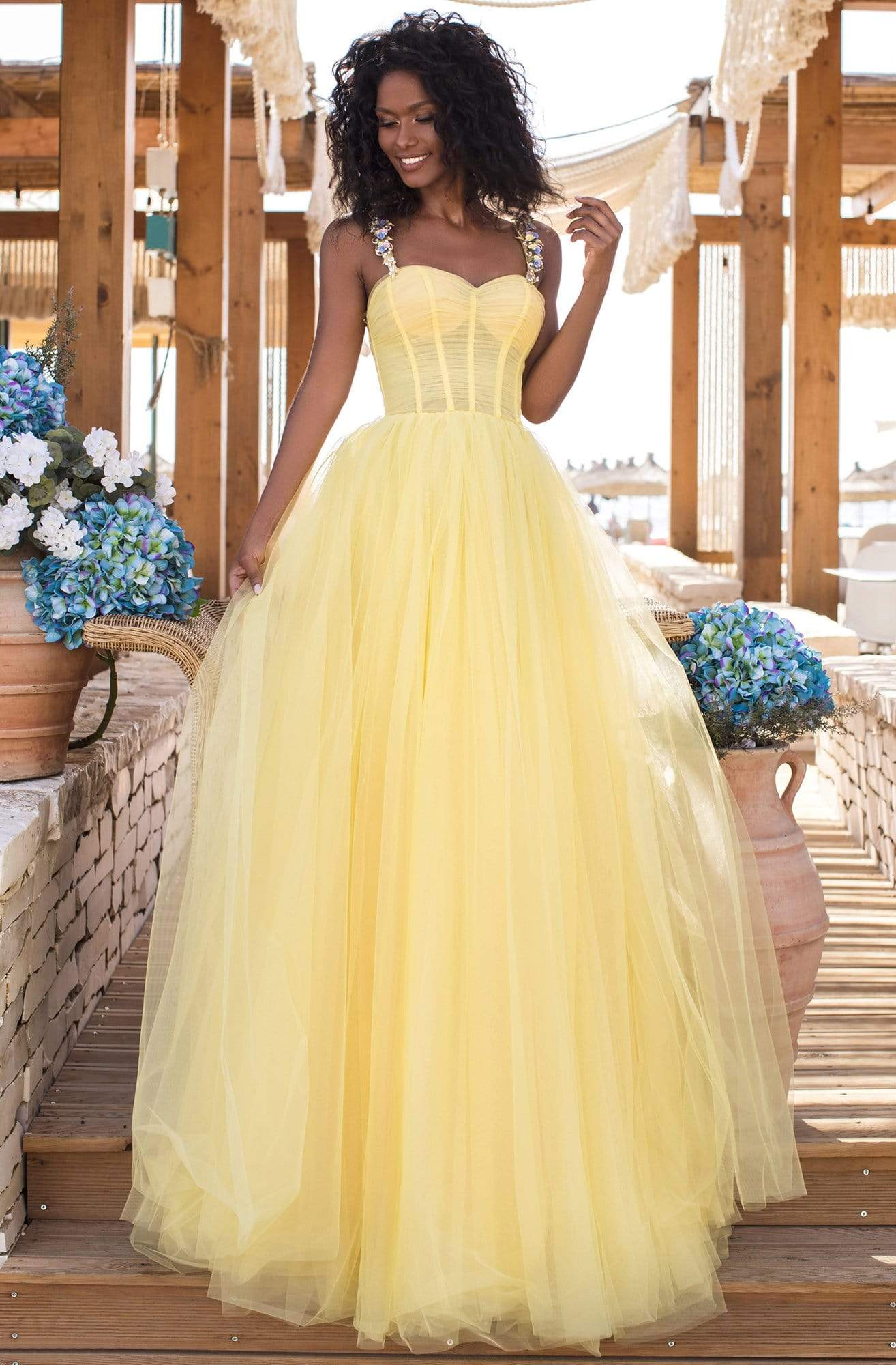 Tarik Ediz - 50619 Floral Ornate Strapped Tulle A-Line Gown Prom Dresses 0 / Yellow