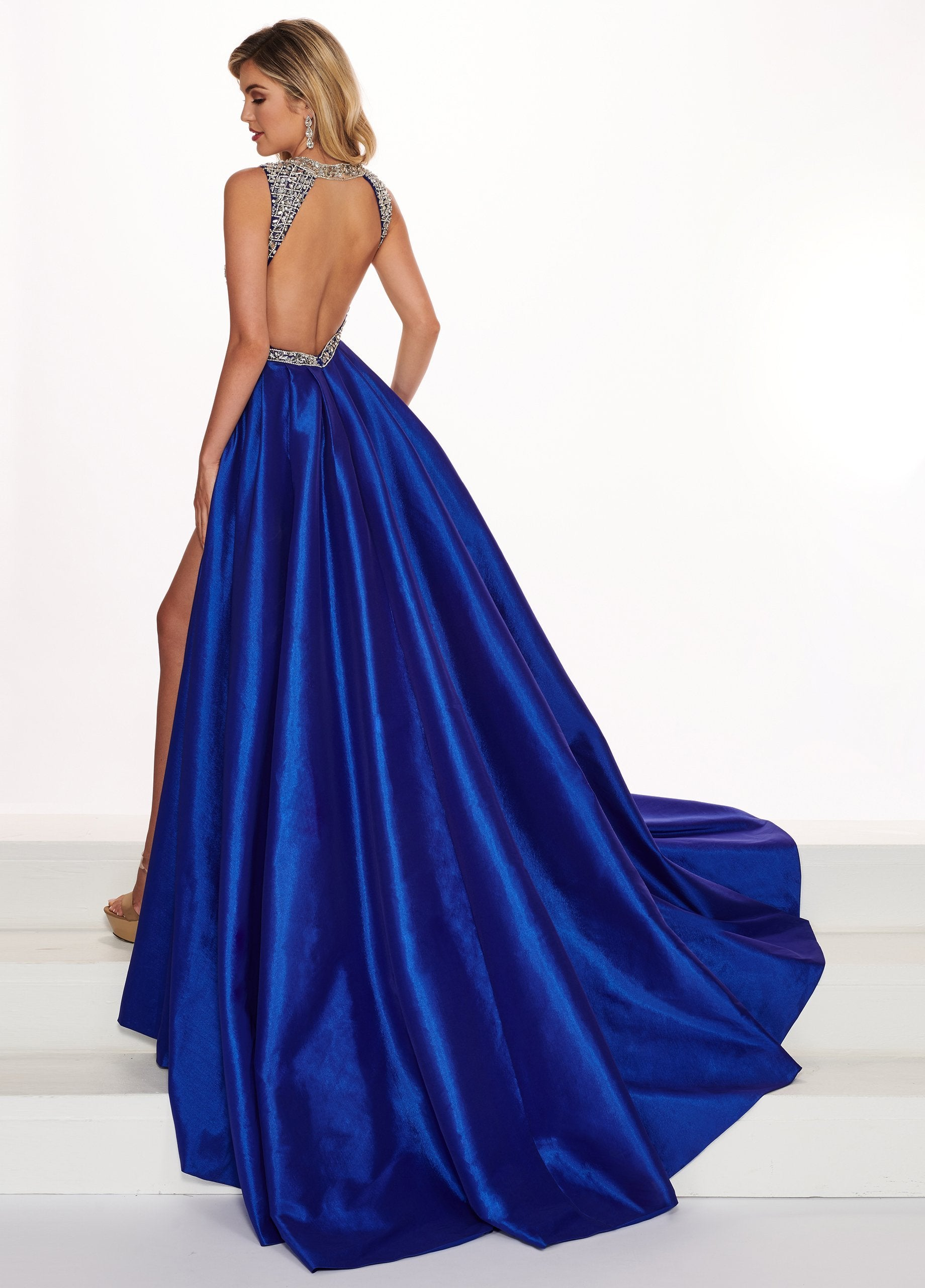 Rachel Allan Prima Donna - 5067 Beaded Stretch Taffeta Ballgown In Blue