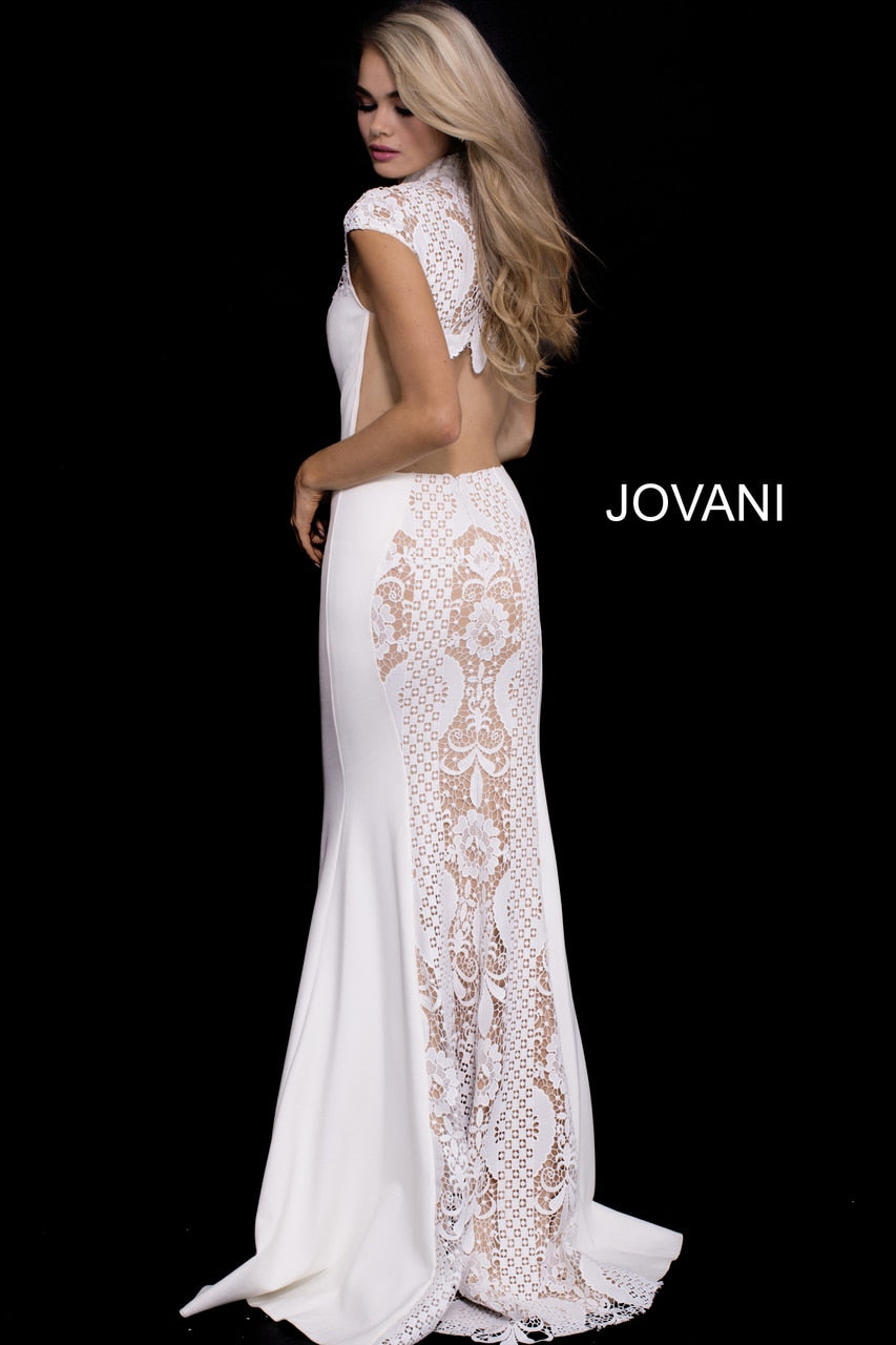 Jovani - 50727 Lace High Neck Stretch Jersey Sheath Dress in White and Neutral
