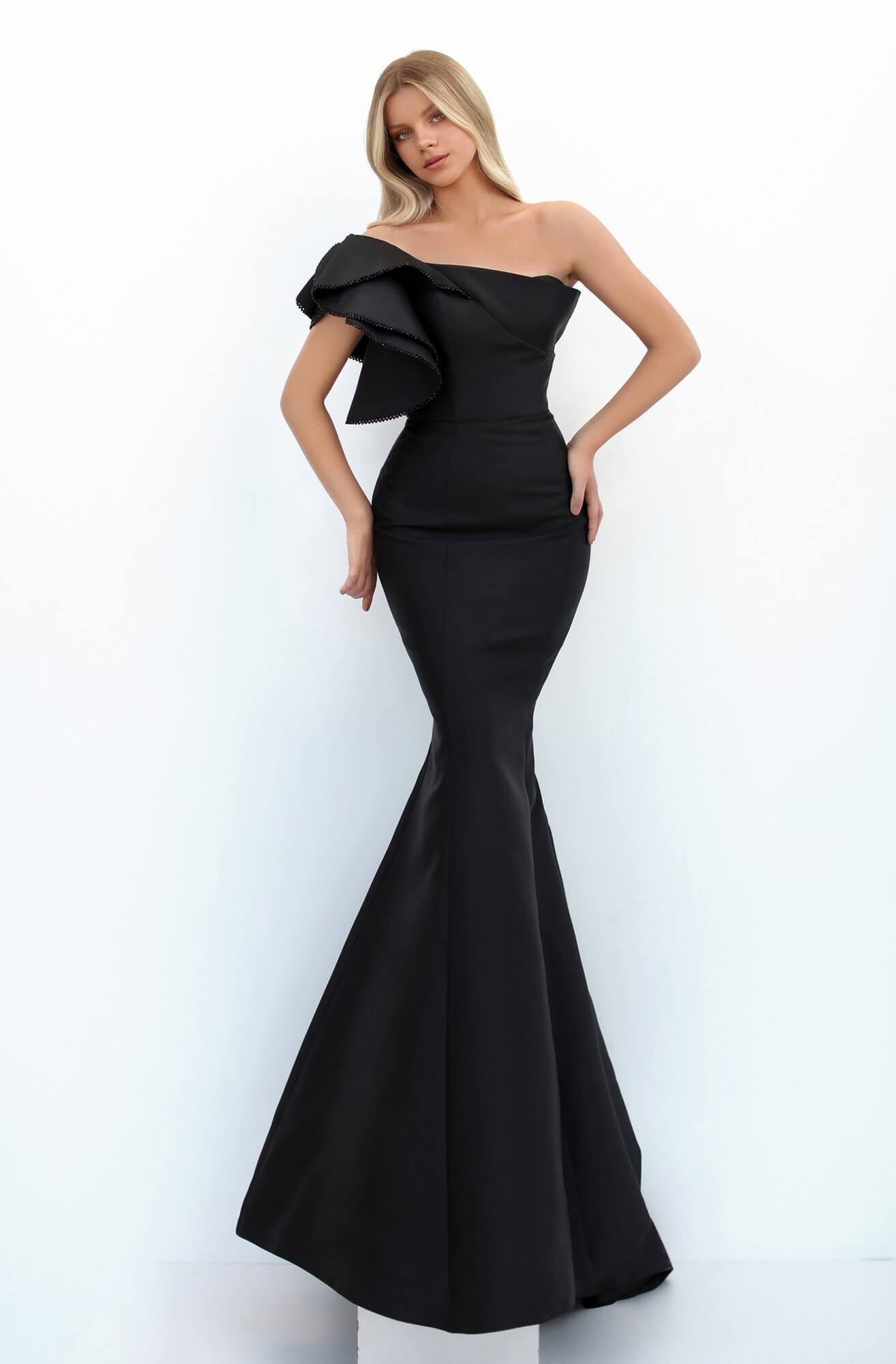 Tarik Ediz - Ruffled Asymmetric Mermaid Evening Dress 50731 In Black