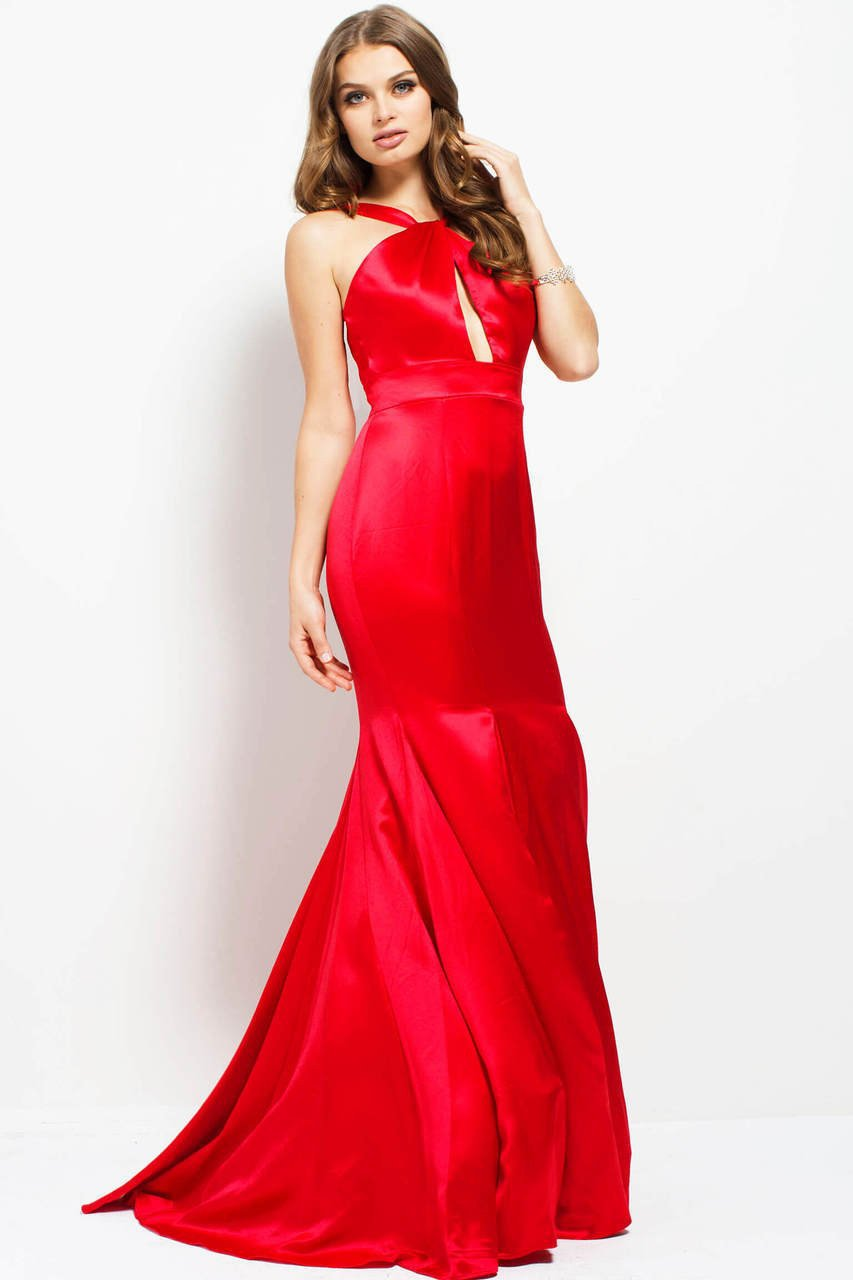 Jovani - 50756 Keyhole Bodice Satin Gown in Red