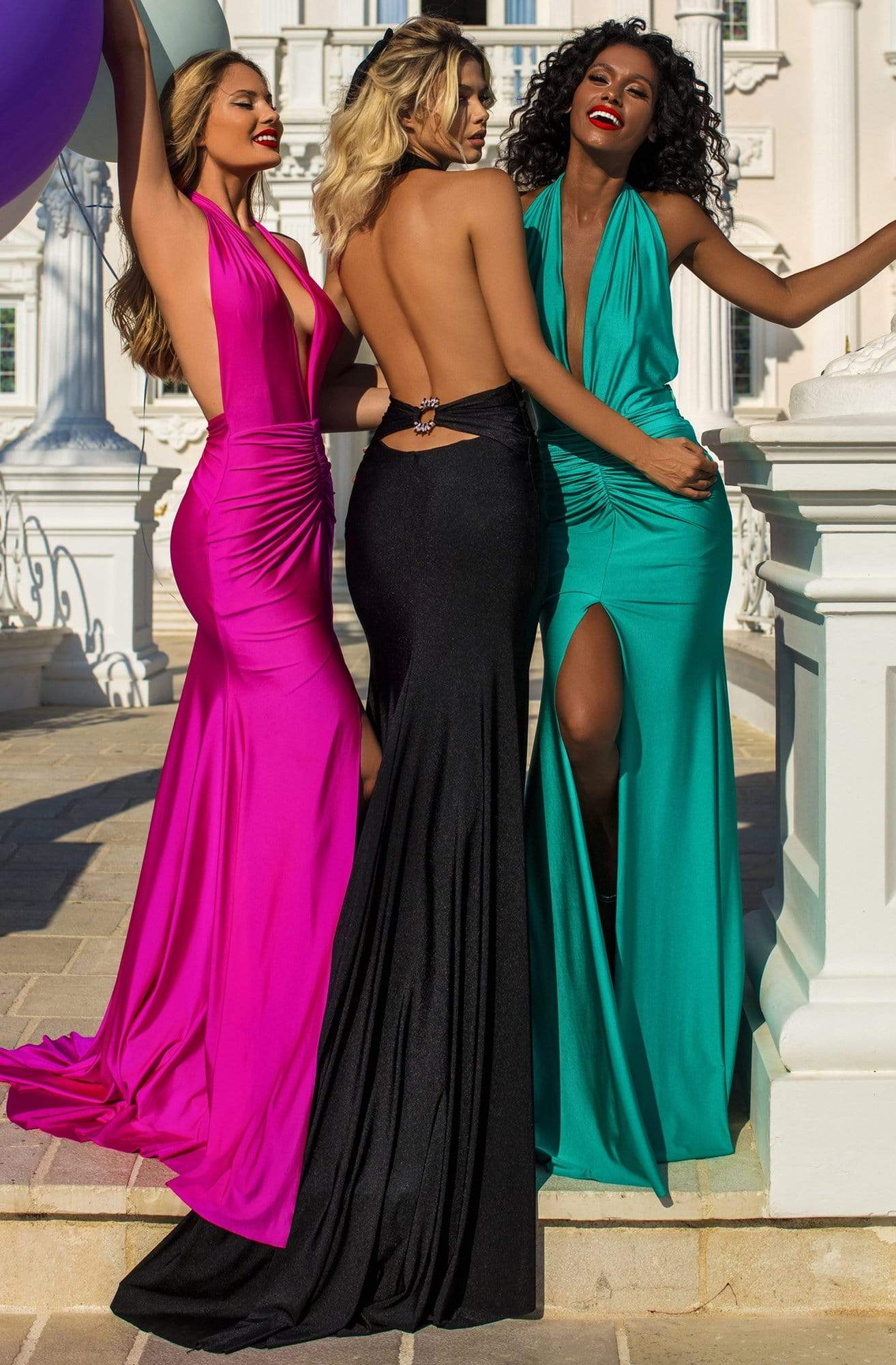 Tarik Ediz - 50757 Plunging Neck Jewel Accent Open Back Sheath Dress In Pink and Black