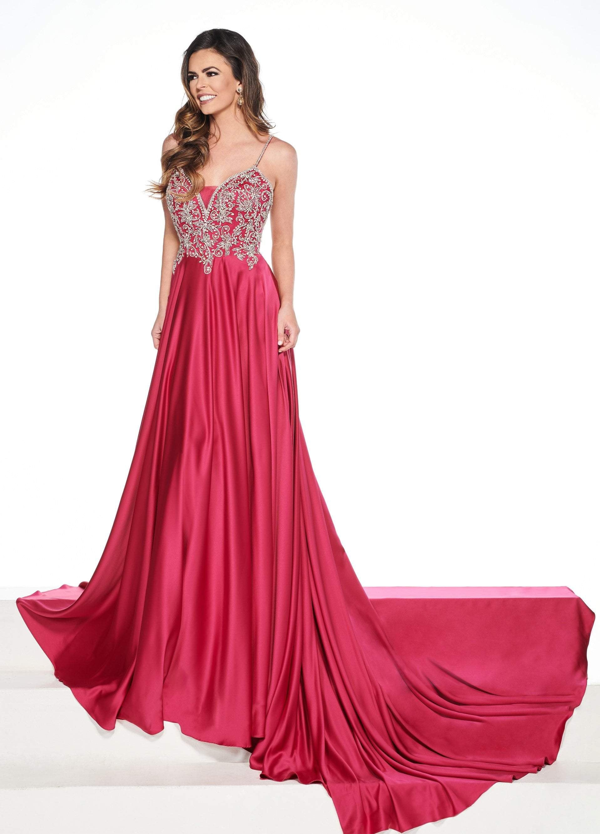 Rachel Allan Primadonna - 5078 Embellished V-neck Satin Dress In Pink