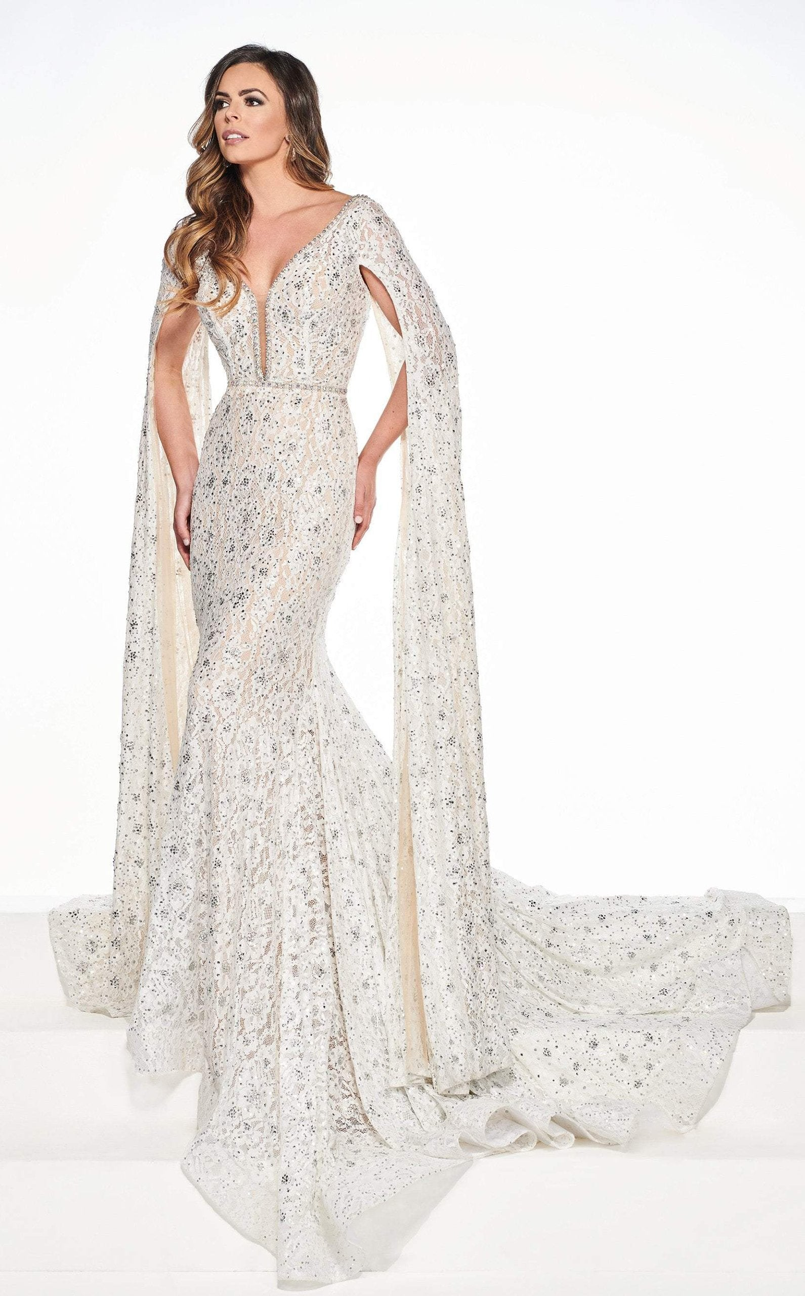 Rachel Allan Primadonna - 5081 Lace Deep V-neck Mermaid Dress In White and Neutral