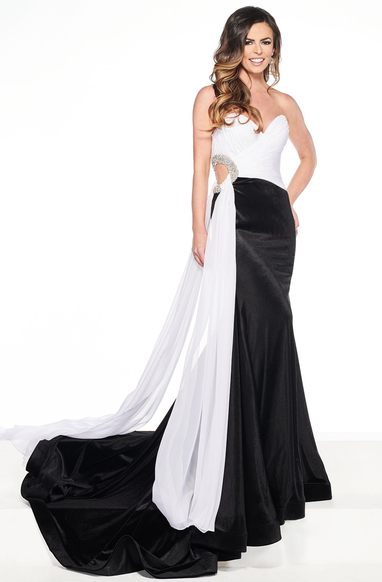 Rachel Allan Primadonna - 5083 Embellished Two Tone Trumpet Dress In Black and White