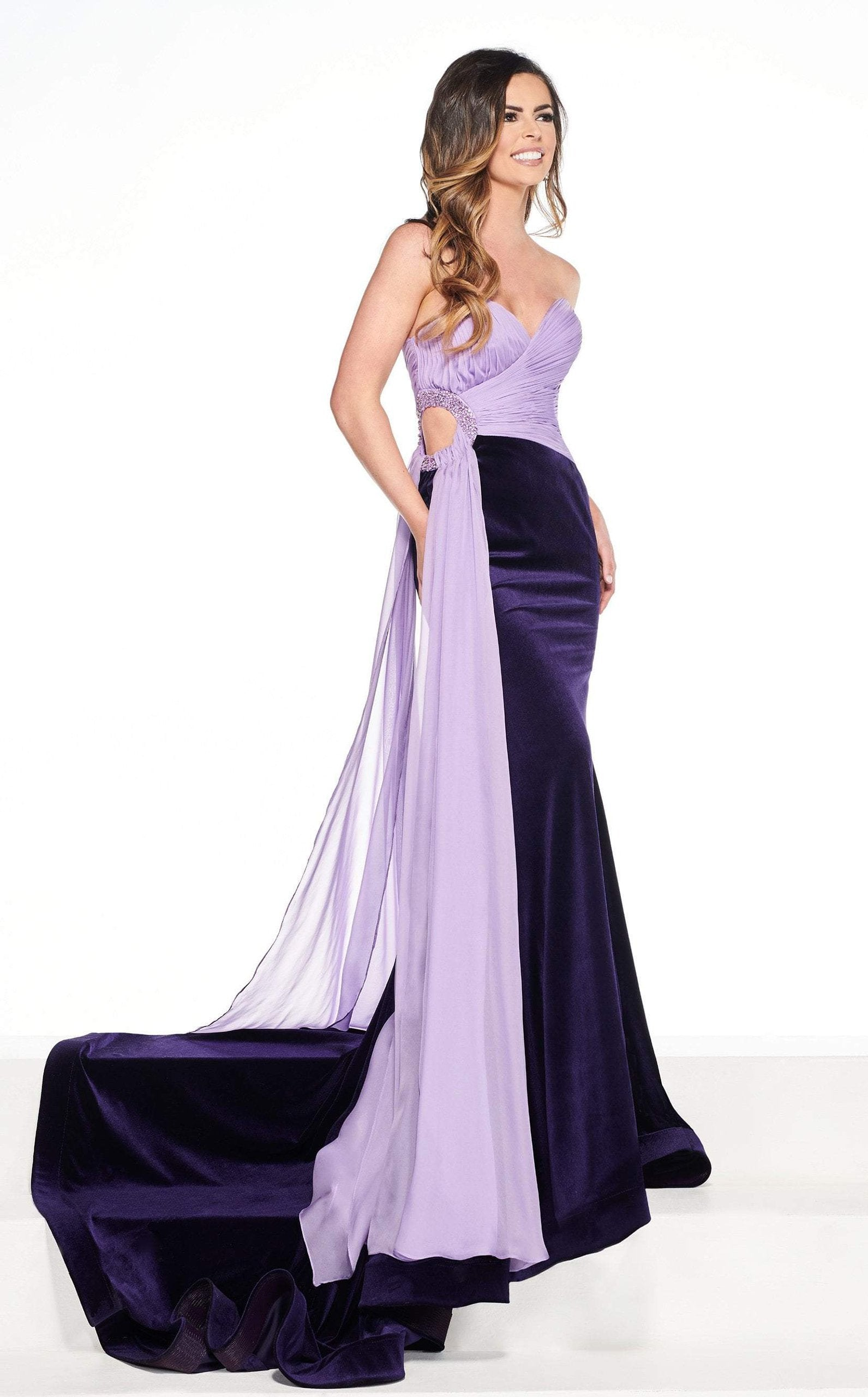 Rachel Allan Primadonna - 5083 Embellished Two Tone Trumpet Dress In Purple