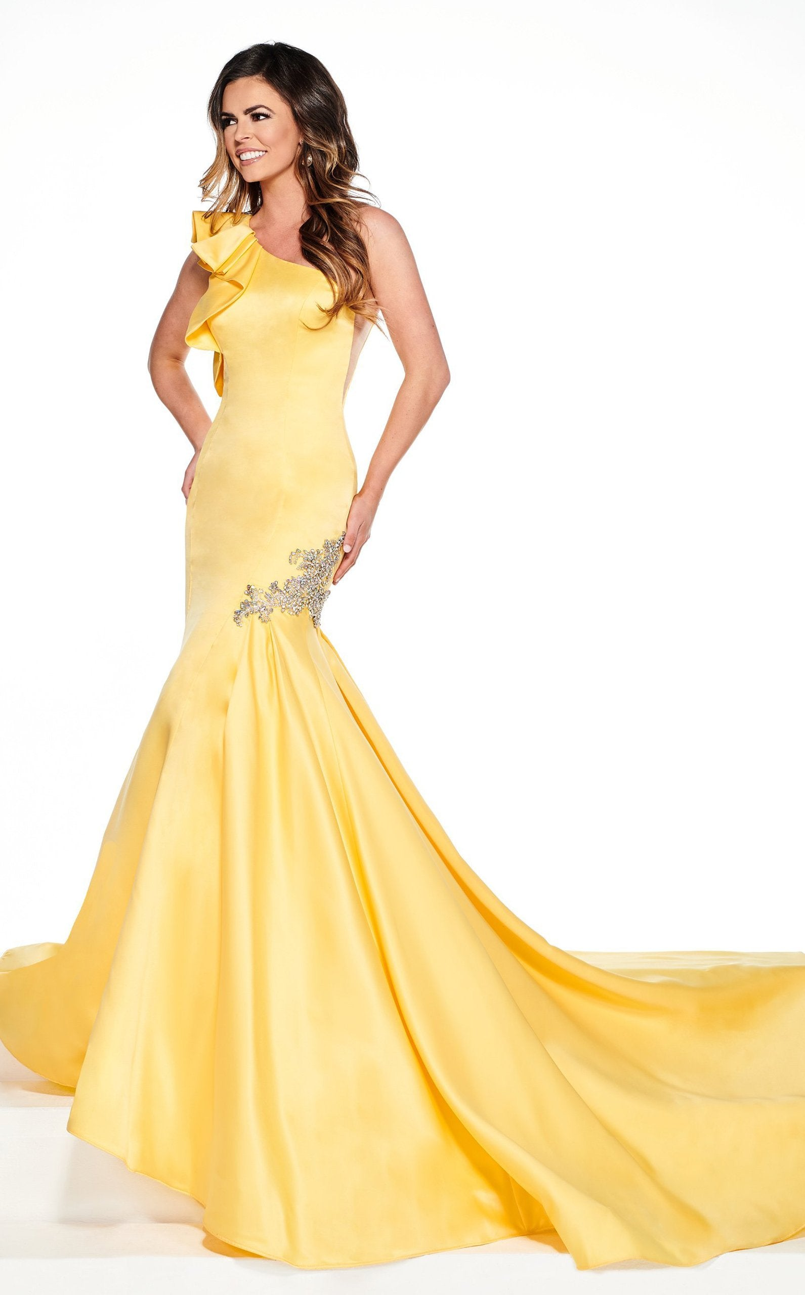 Rachel Allan Primadonna - 5084 Ruffled One Shoulder Satin Mermaid Gown In Yellow