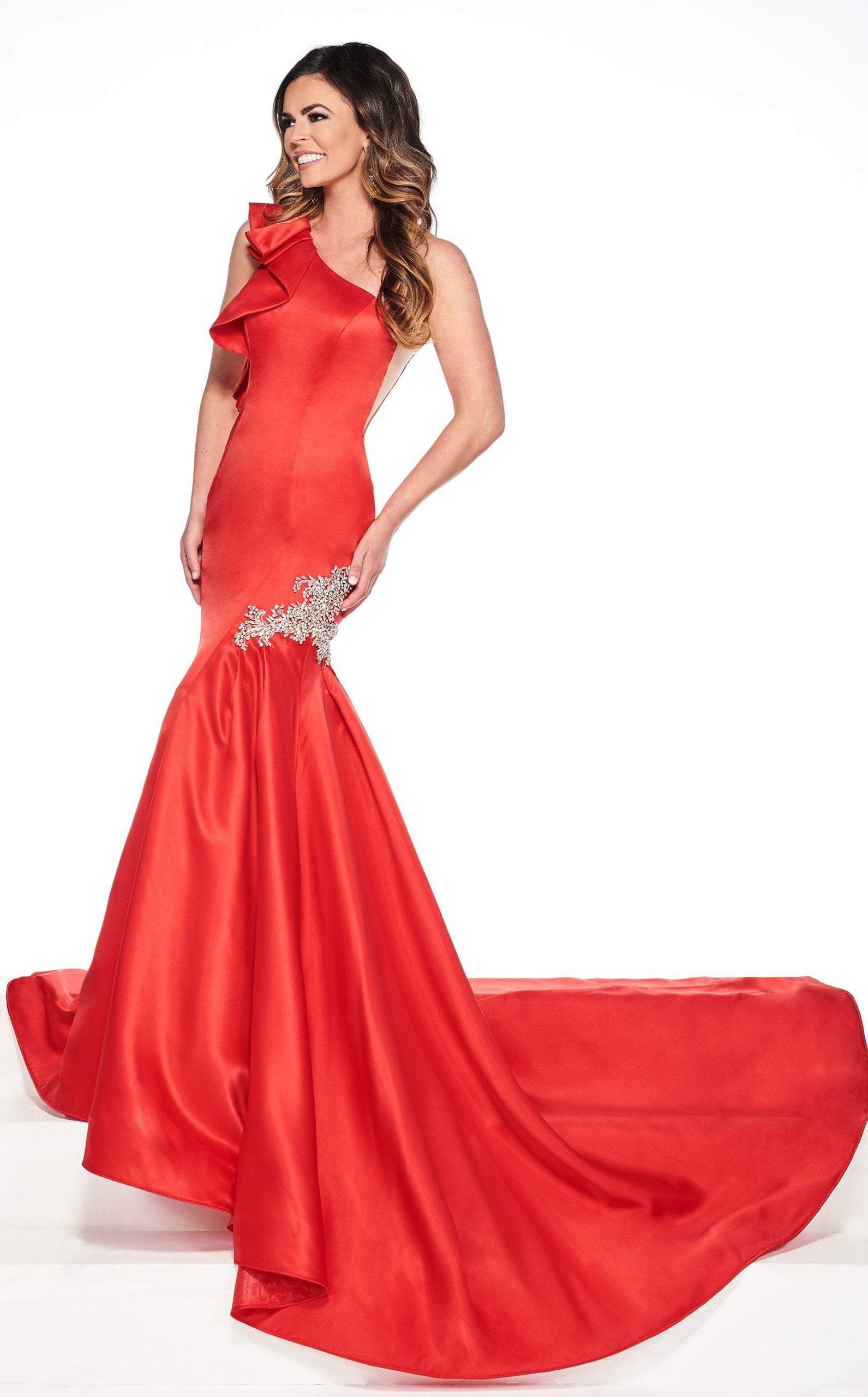 Rachel Allan Primadonna - 5084 Ruffled One Shoulder Satin Mermaid Gown In Red