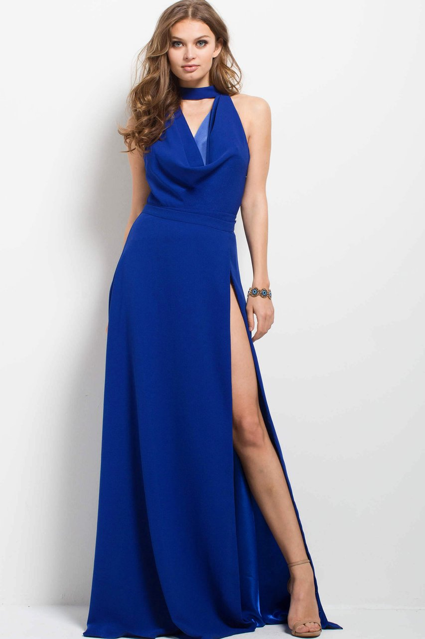 Jovani - 50866 Sleeveless High A-line Dress in Blue