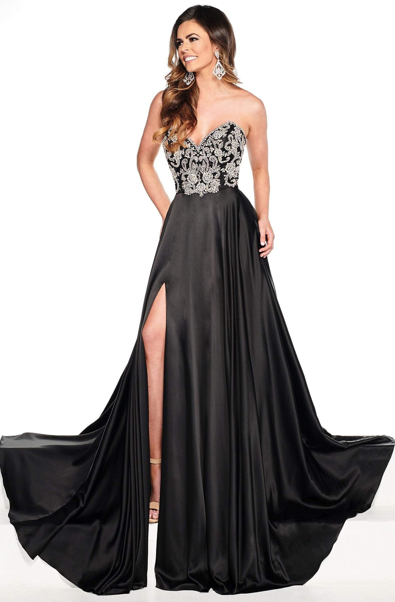 Rachel Allan Primadonna - 5089 Crystal Beaded Satin A-line Gown In Black