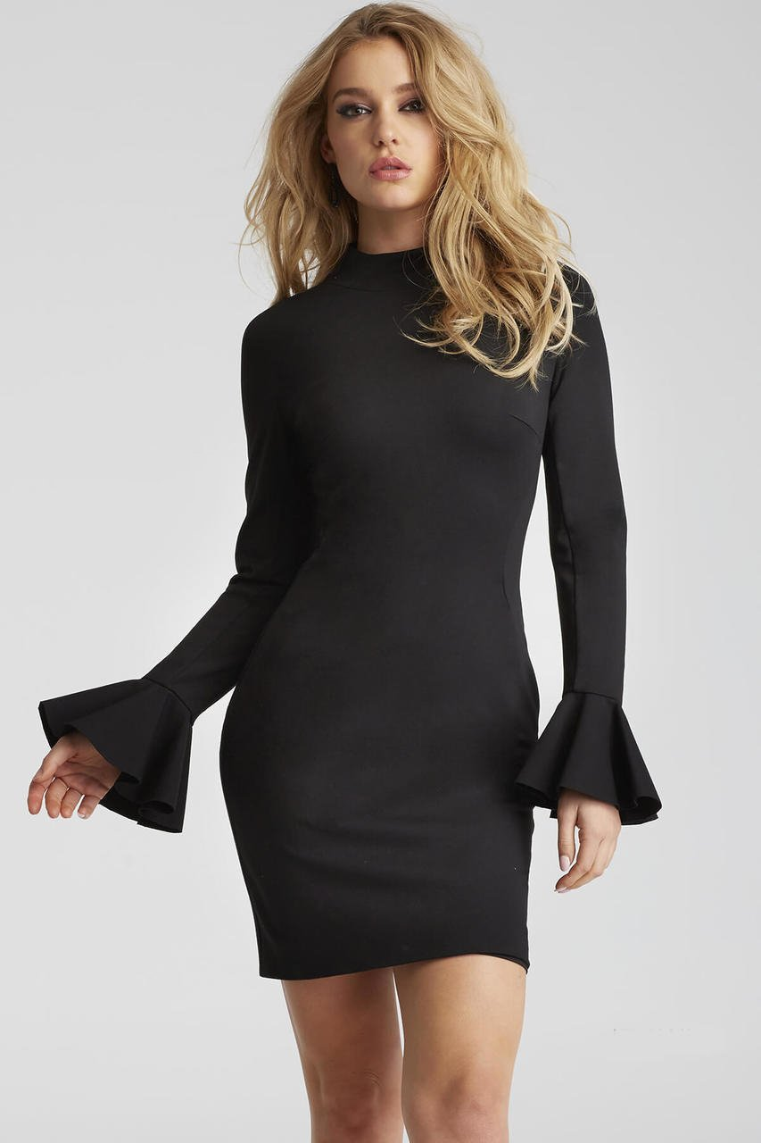 Jovani - 50898 Long Bell Sleeve Sheath Dress in Black