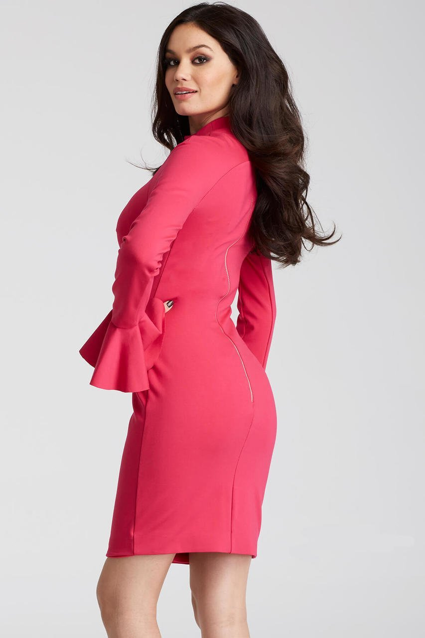 Jovani High Neck Long Bell Sleeve Sheath Dress 50898 - 1 pc Hot Pink In Size 4 Available In Pink