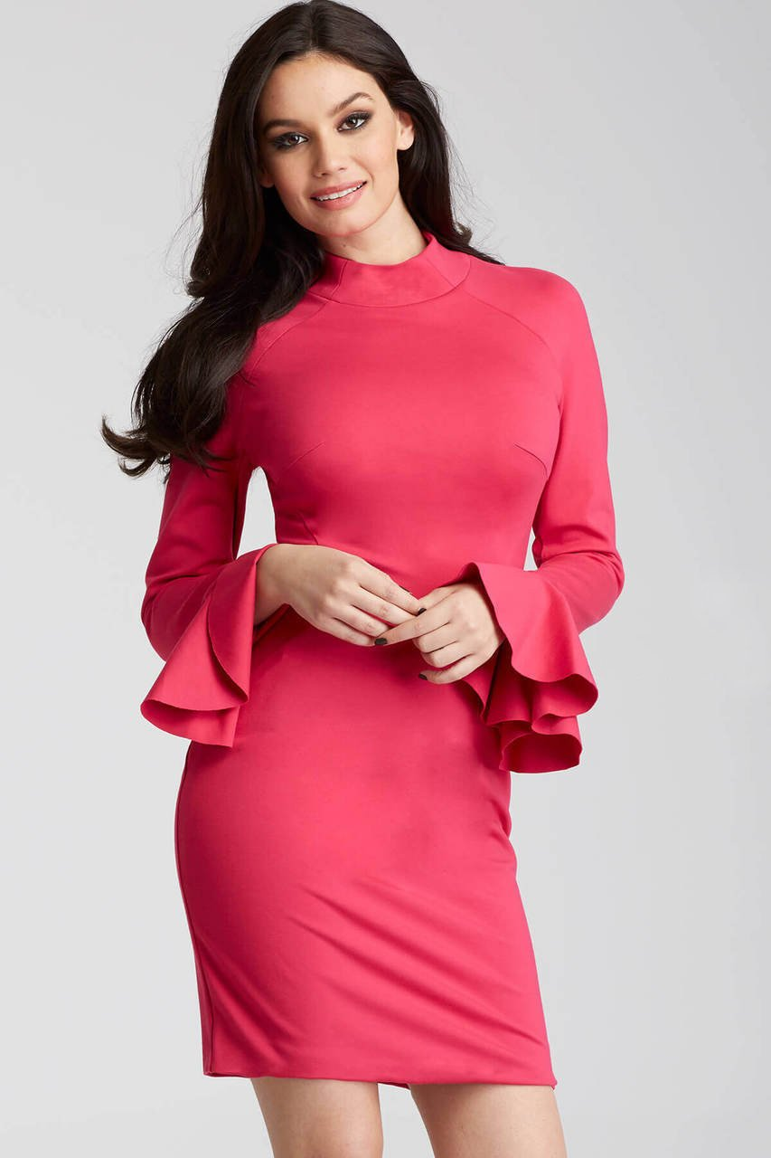 Jovani - 50898 Long Bell Sleeve Sheath Dress in Pink