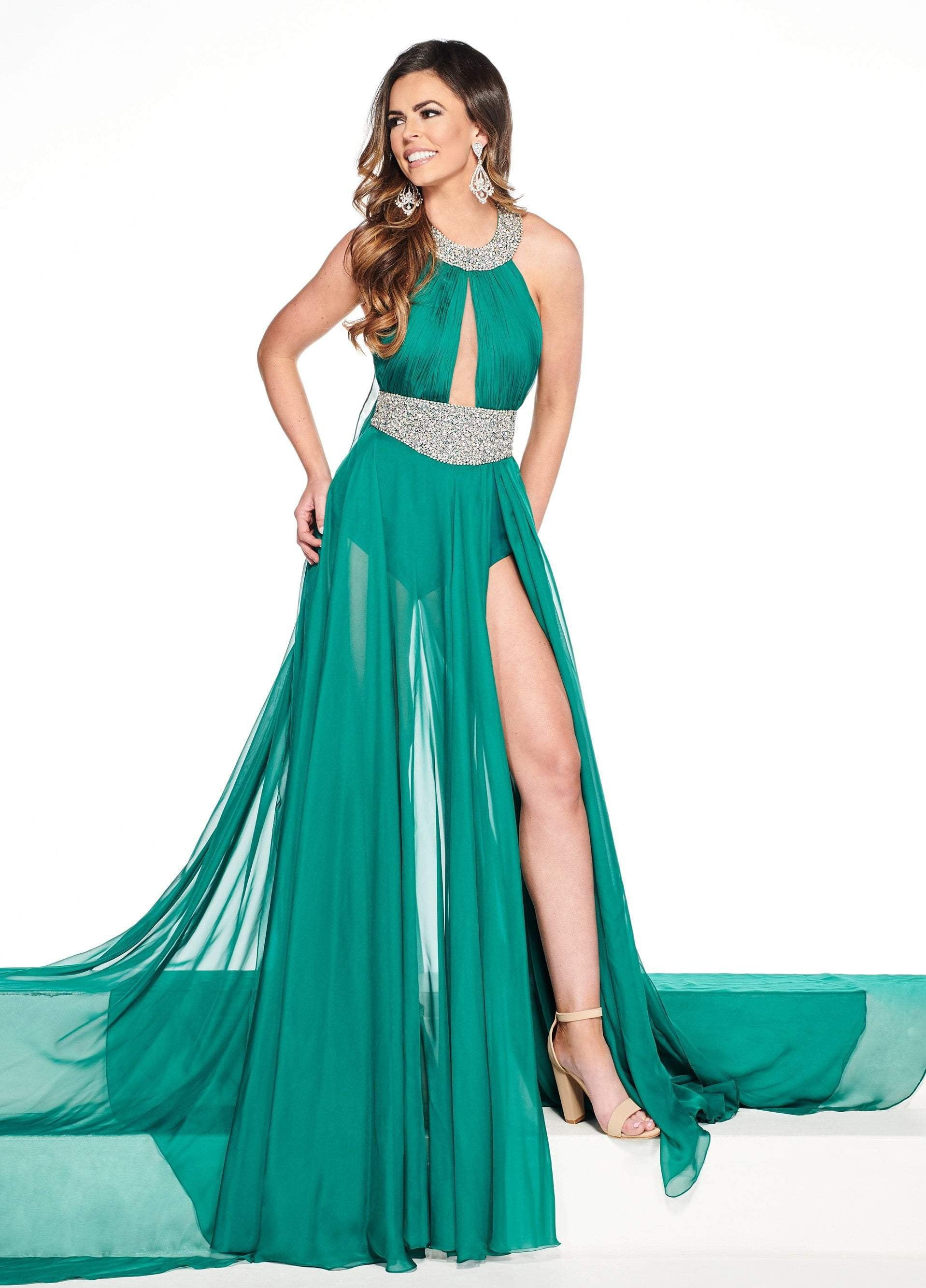 Rachel Allan Primadonna - 5090 Embellished Halter Chiffon A-line Dress In Green