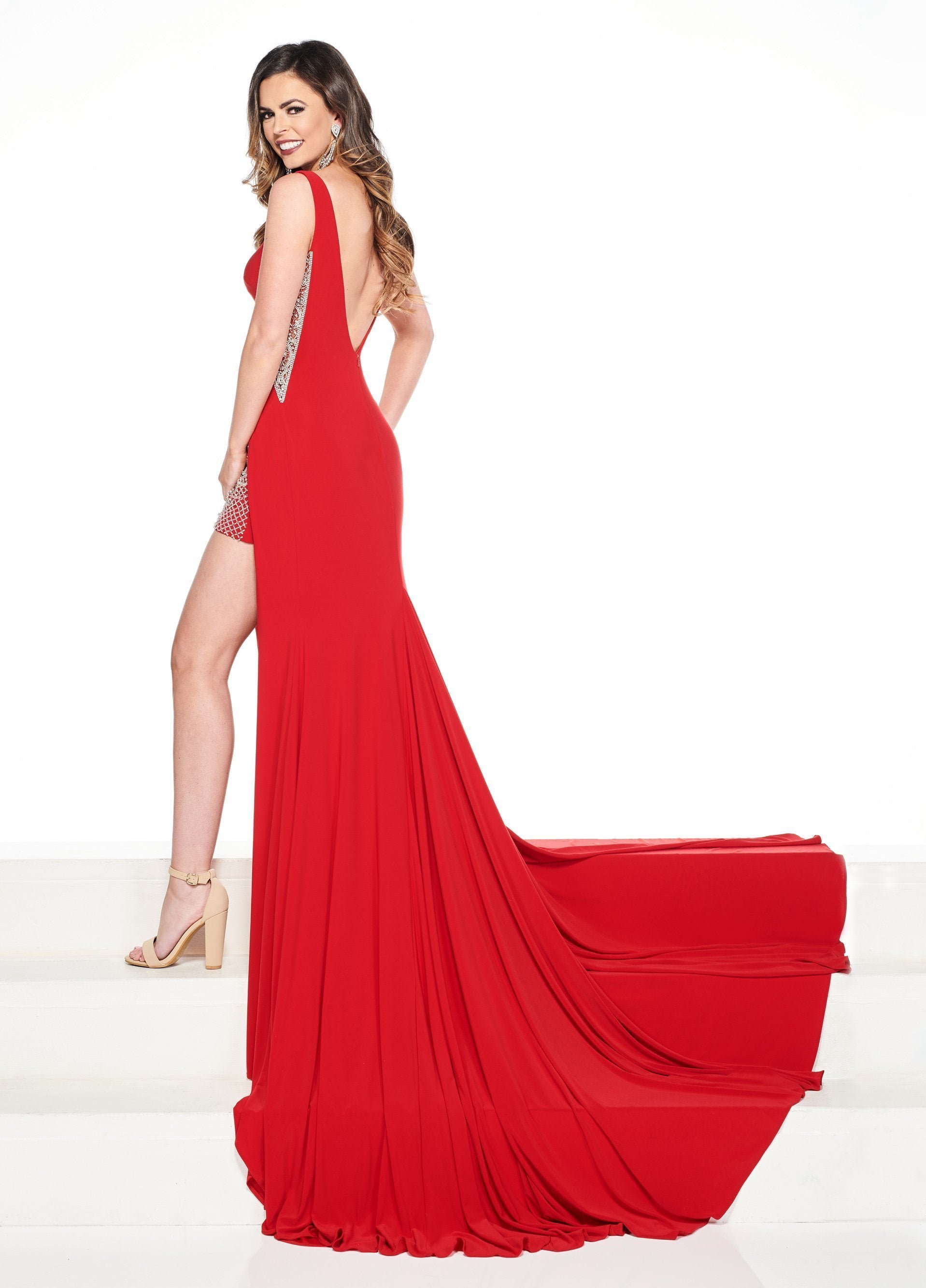 Rachel Allan Primadonna - 5091 Beaded Bateau Jersey Trumpet Dress In Red