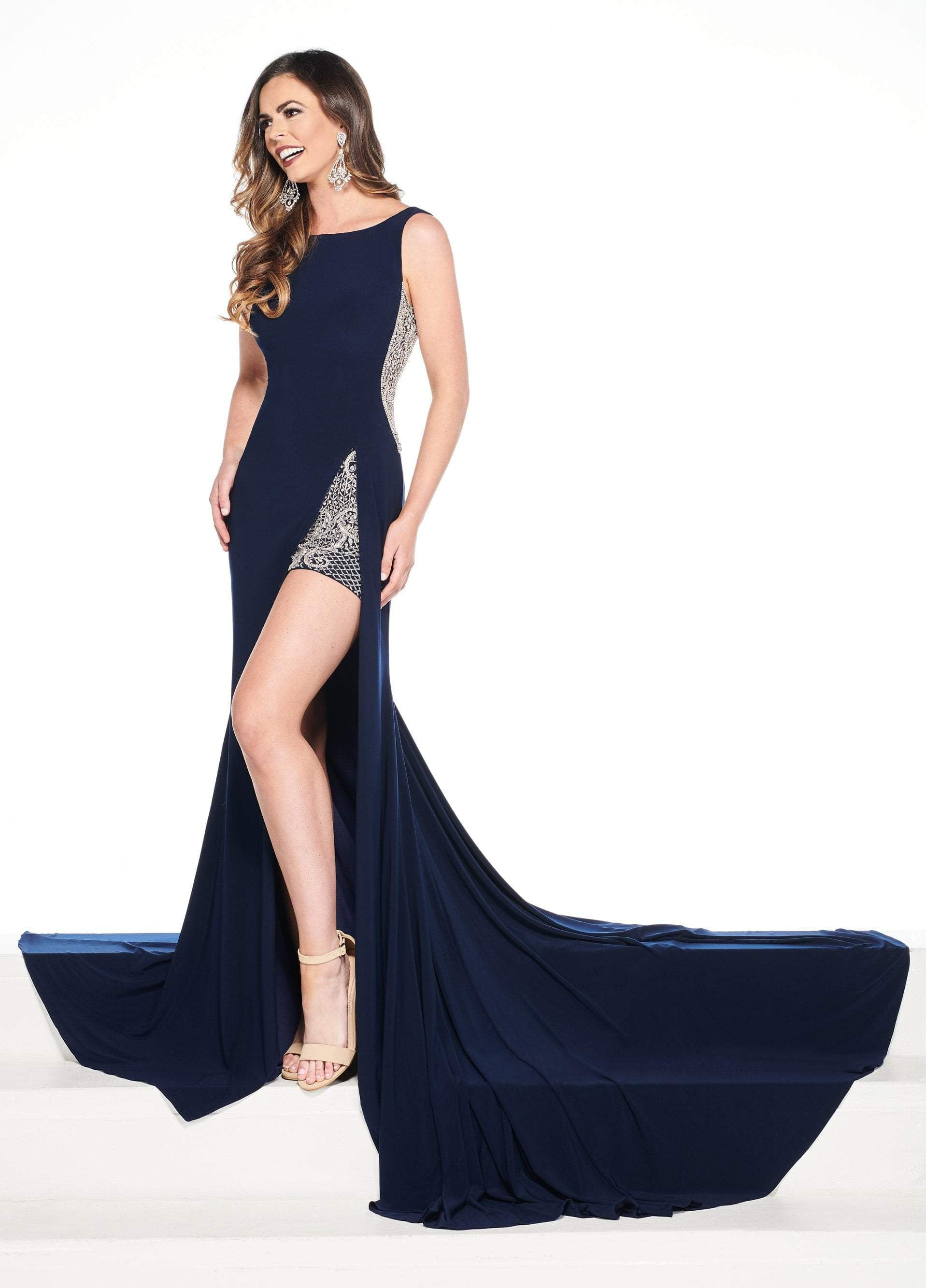 Rachel Allan Primadonna - 5091 Beaded Bateau Jersey Trumpet Dress In Blue