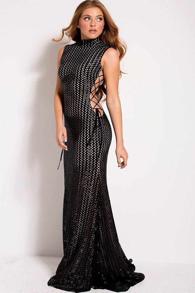 Jovani - Side Laced Up Beaded High Neck Evening Dress 51307 In Black and Nude