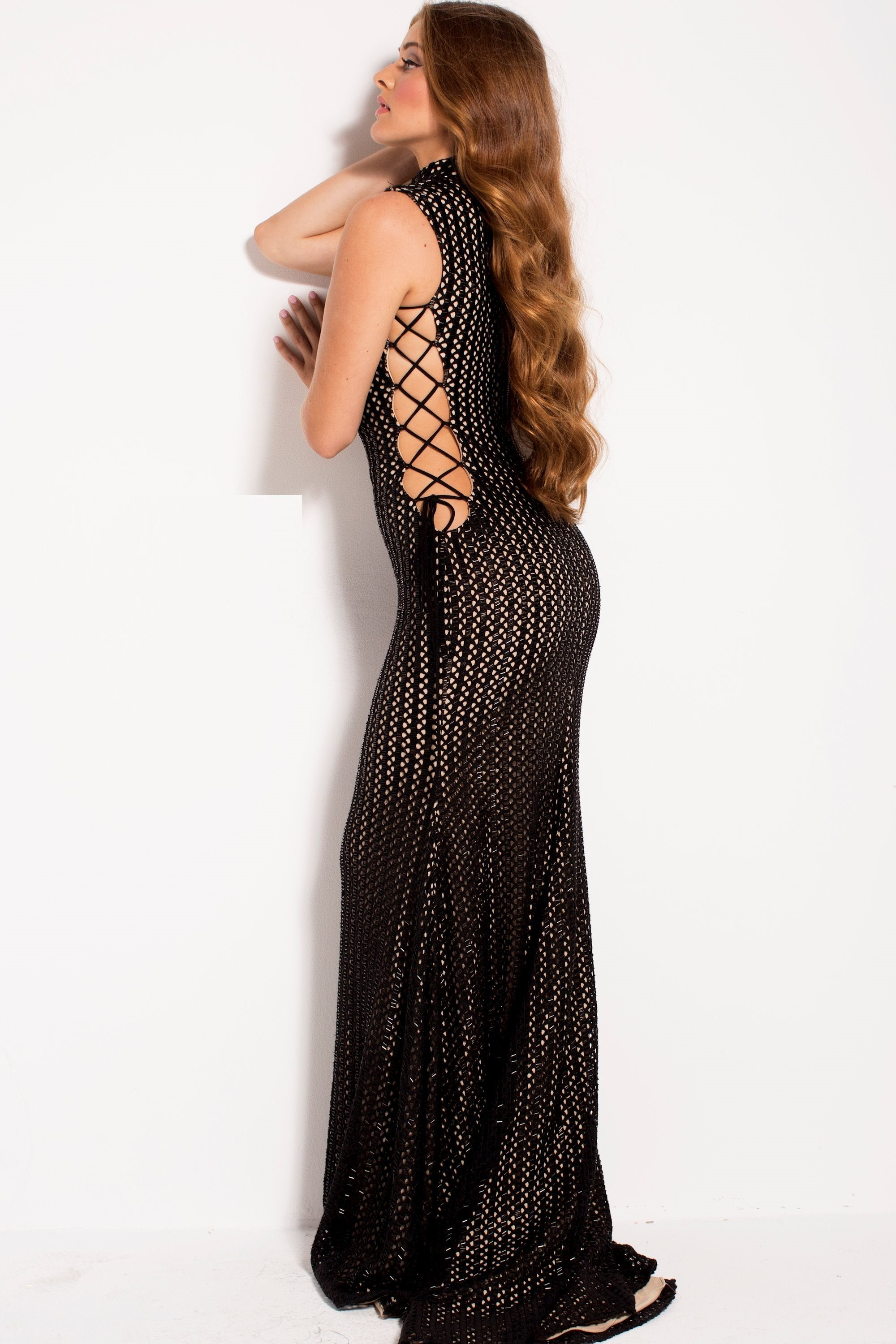 Jovani - 51307SC Lace-up Bare Side Panel Beaded Evening Dress