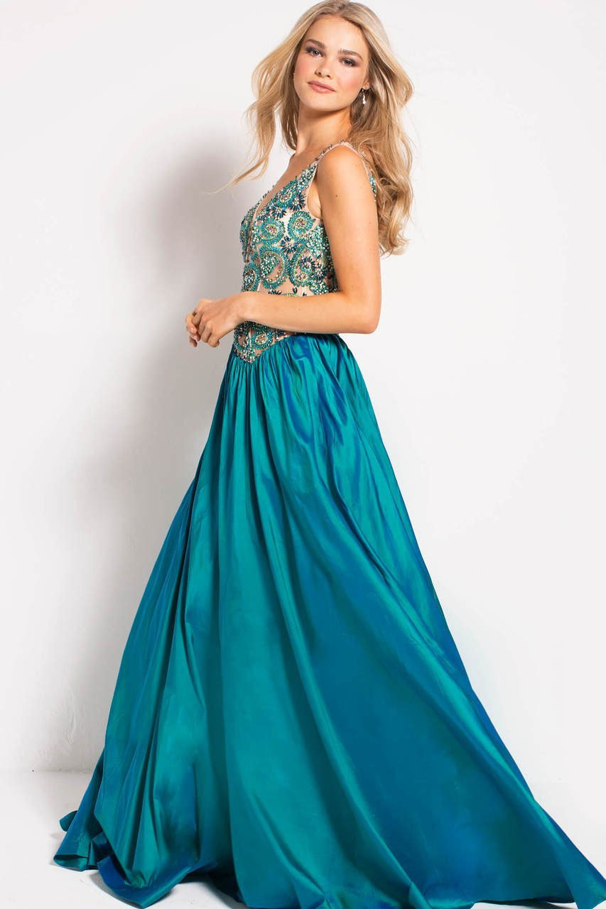 Jovani - 51462 Plunging V-Neck Beaded Taffeta Gown In Green