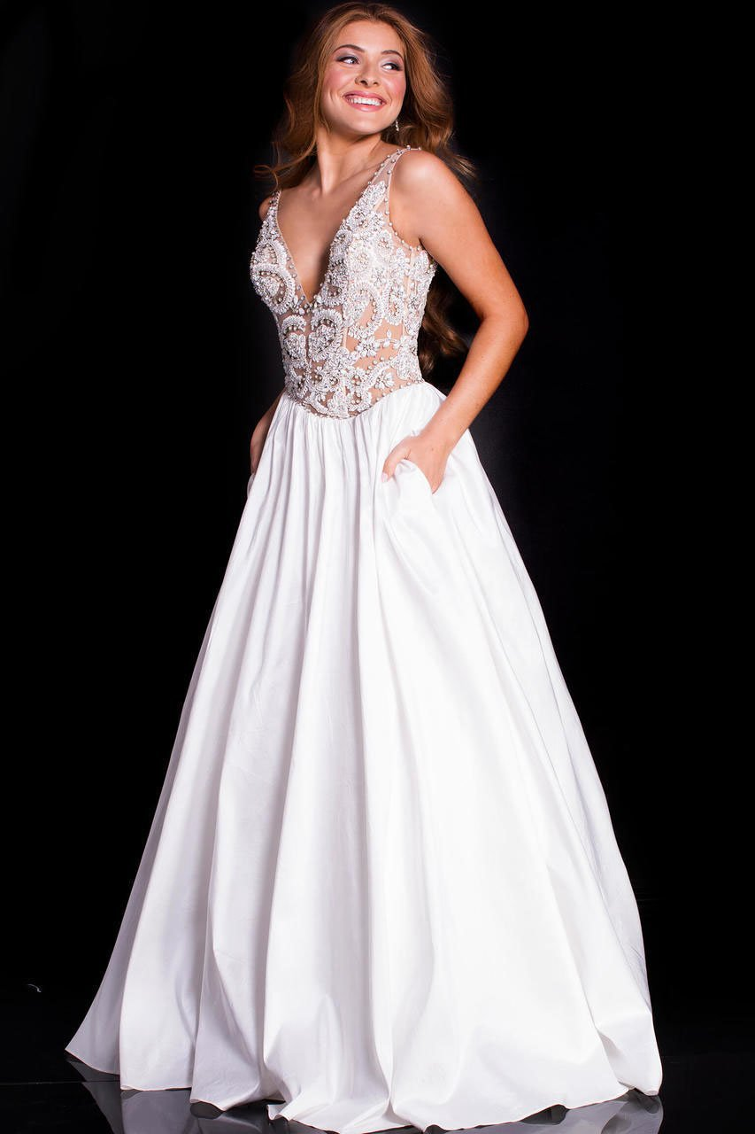 Jovani - 51462 Plunging V-Neck Beaded Taffeta Gown In White