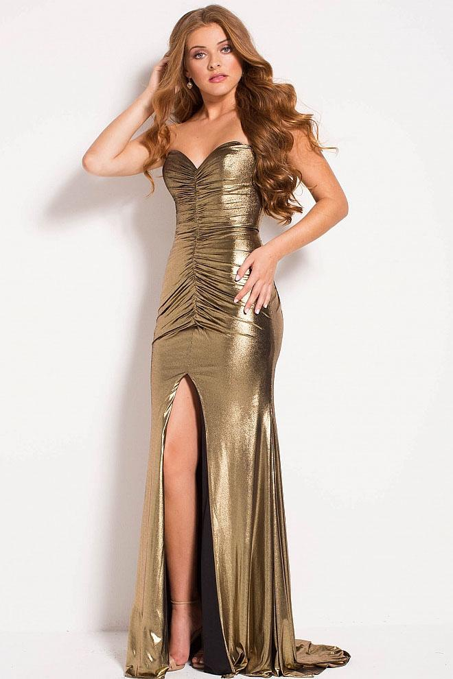 Jovani - 51552 Strapless Gold Metallic Ruched Fitted Dress in Gold