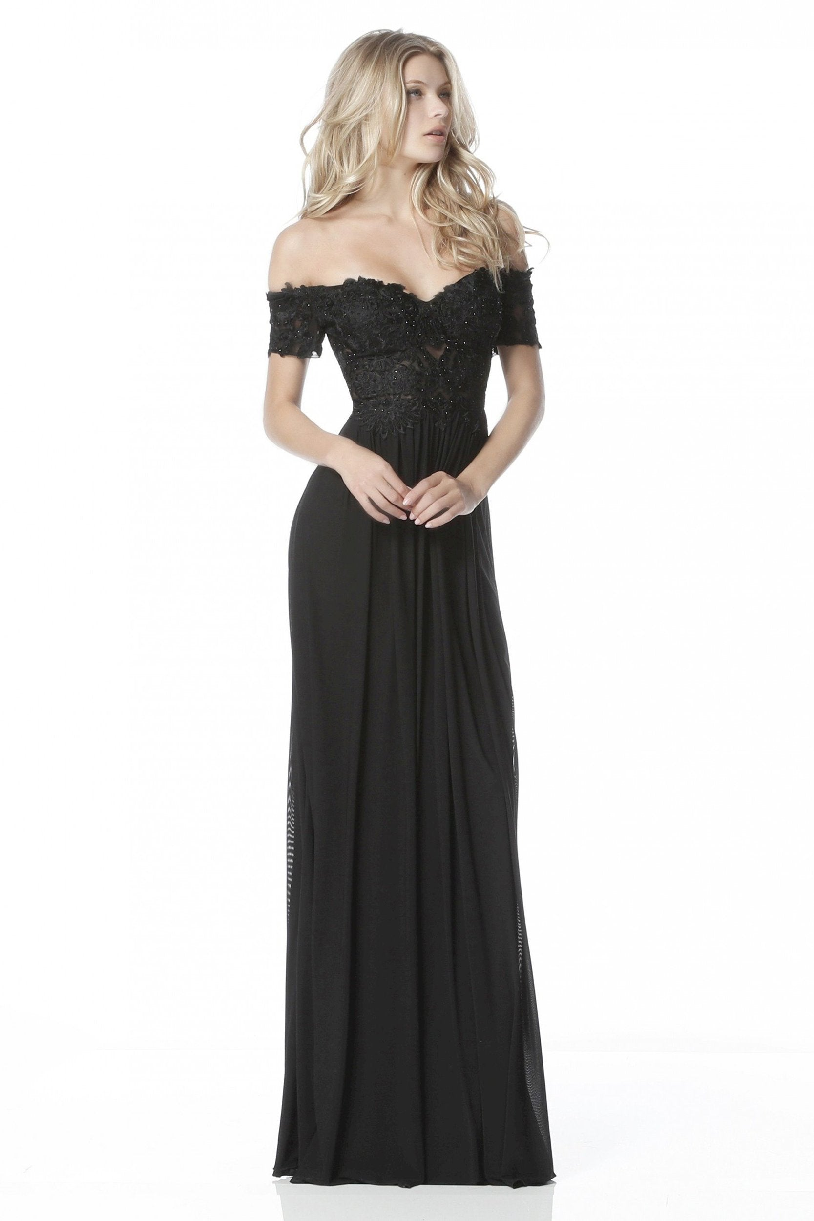 Sherri Hill - Beaded Lace Off-Shoulder A-Line Evening Gown 51556 In Black