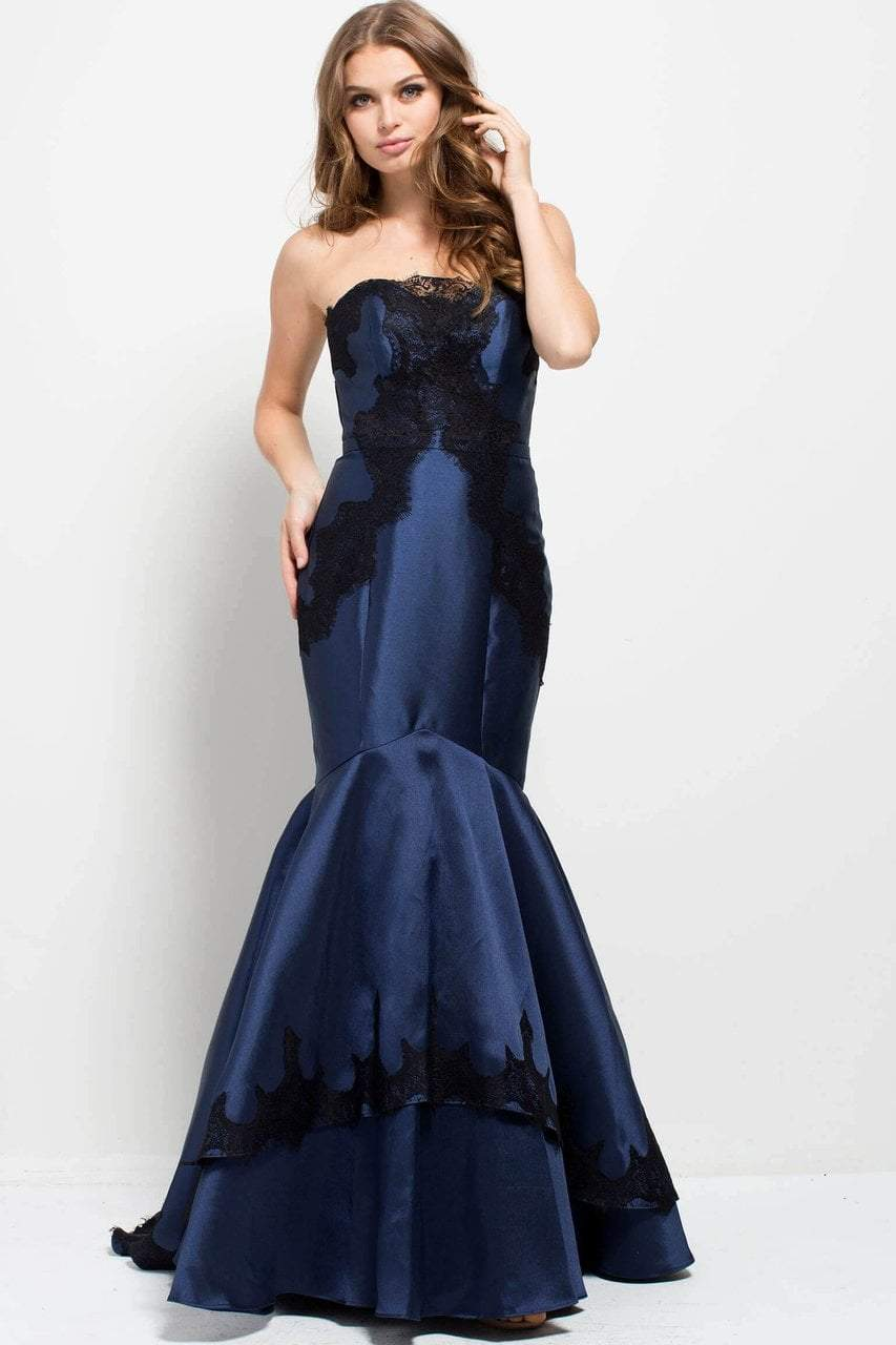 Jovani - 51728 Strapless Lace Embellished Mermaid Gown in Blue and Black