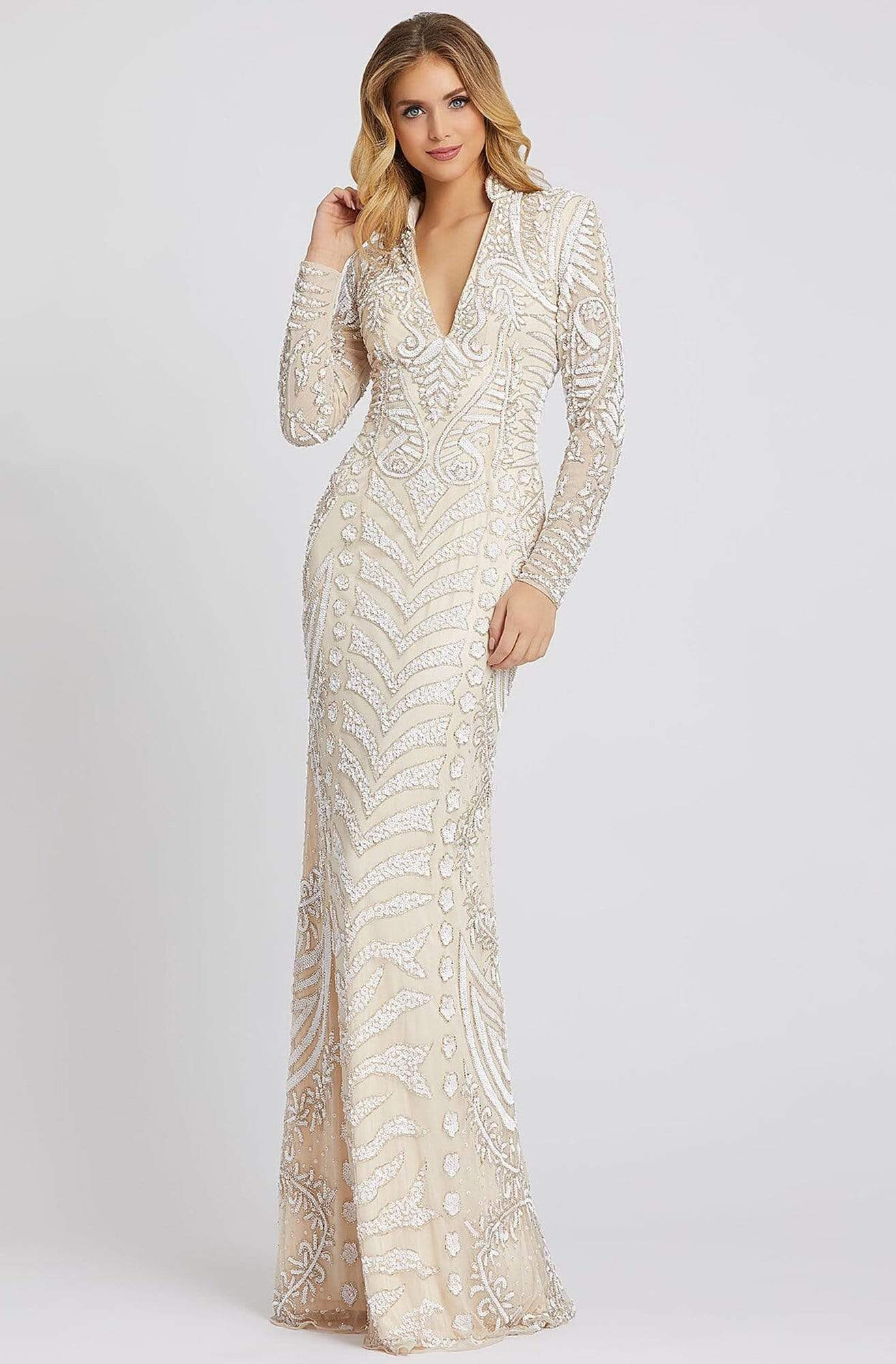 Mac Duggal Evening - 5173D Sequined Long Sleeves Collared Dress Evening Dresses 0 / Nude