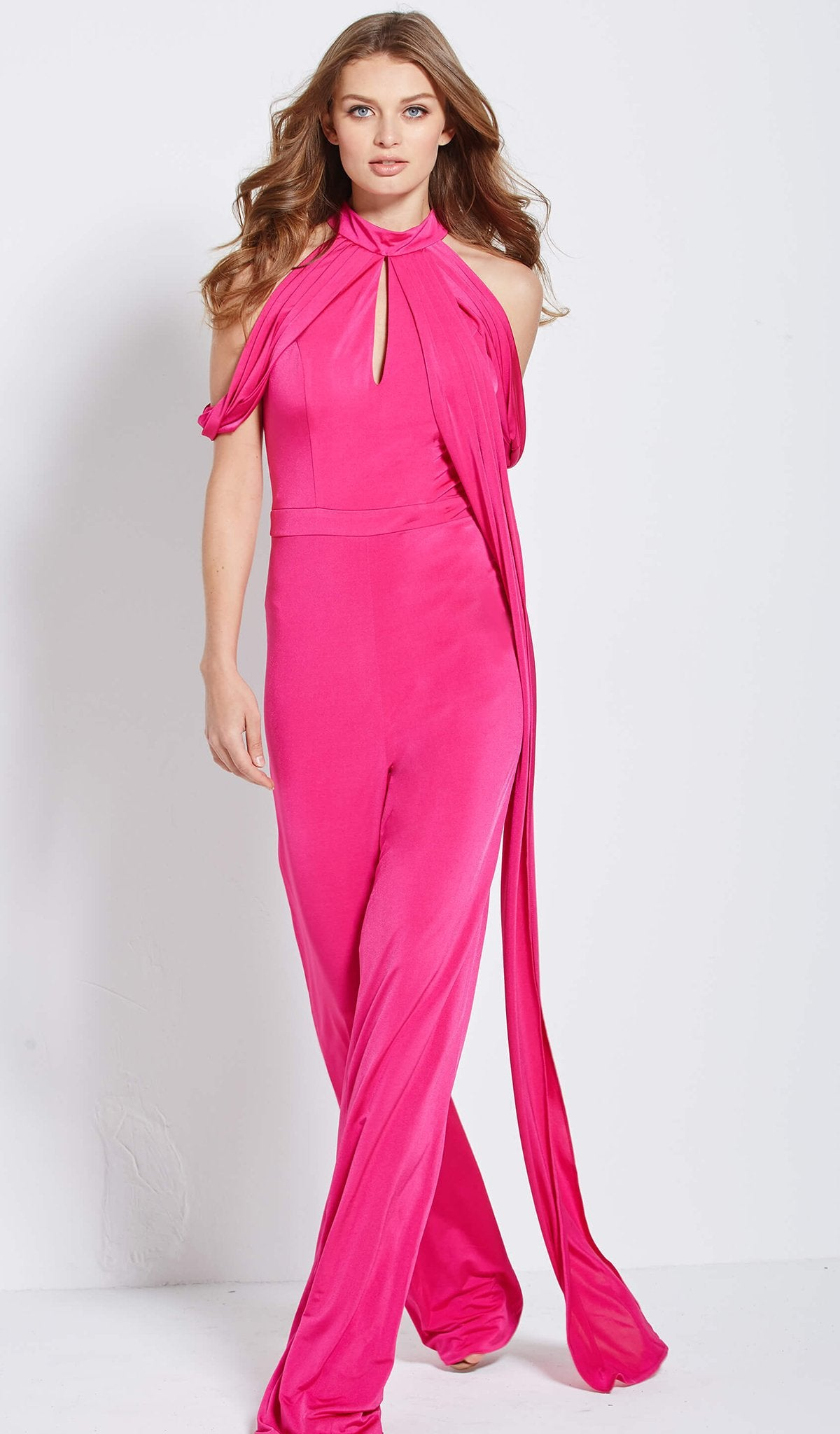 Jovani - 51785 Cold Shoulder High Neck Jumpsuit in Pink