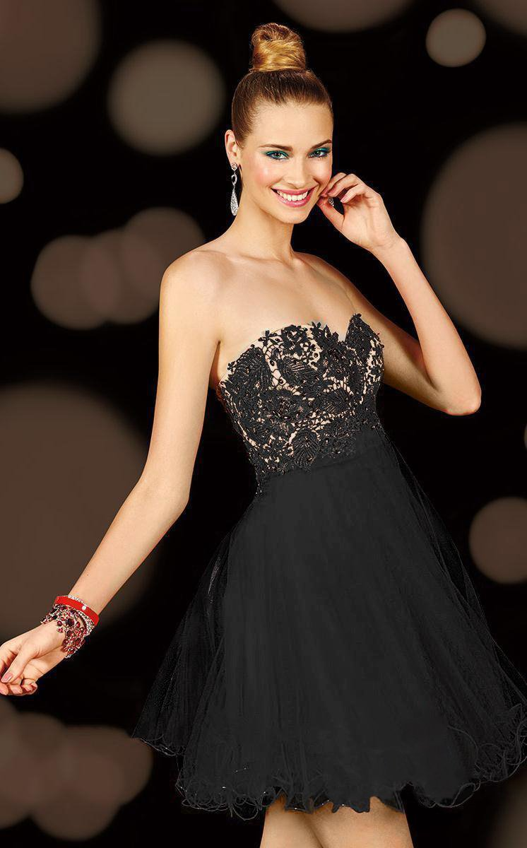 Alyce Paris - 3601 Strapless Floral Cocktail Dress with Lace Up Back in Black