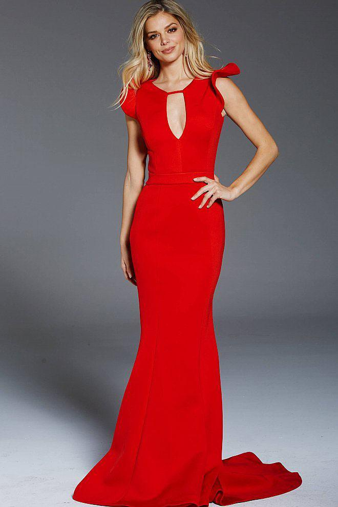 Jovani - 51933 Butterfly Sleeve Trumpet Dress in Red