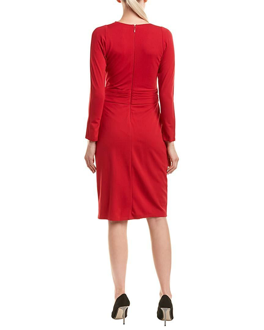 Taylor - 9980M Knotted V-Neck Long Sleeves Cocktail Dress In Red