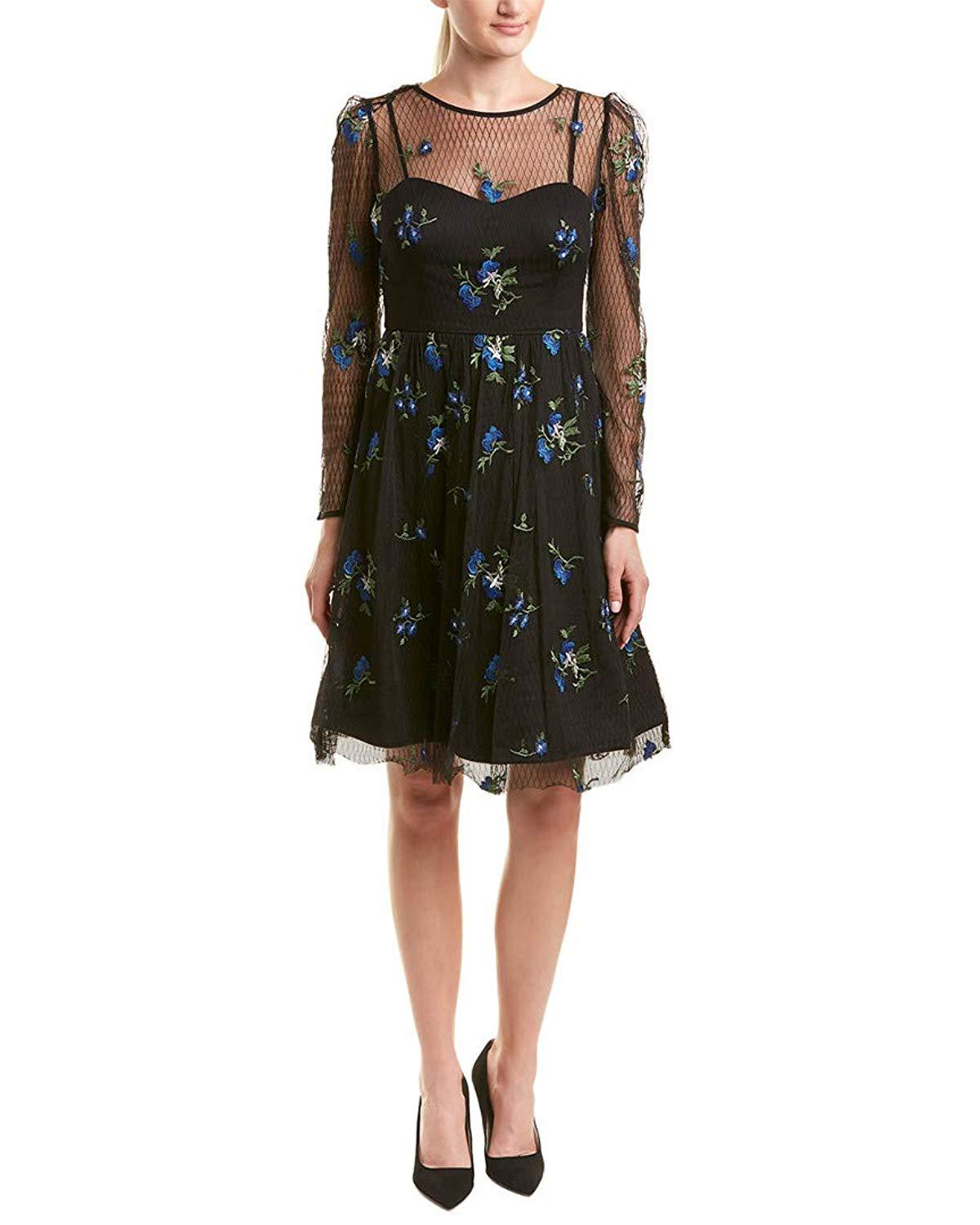 Taylor - 9862M Knee Length Puff Sleeve Illusion Embroidered Dress In Blue and Black