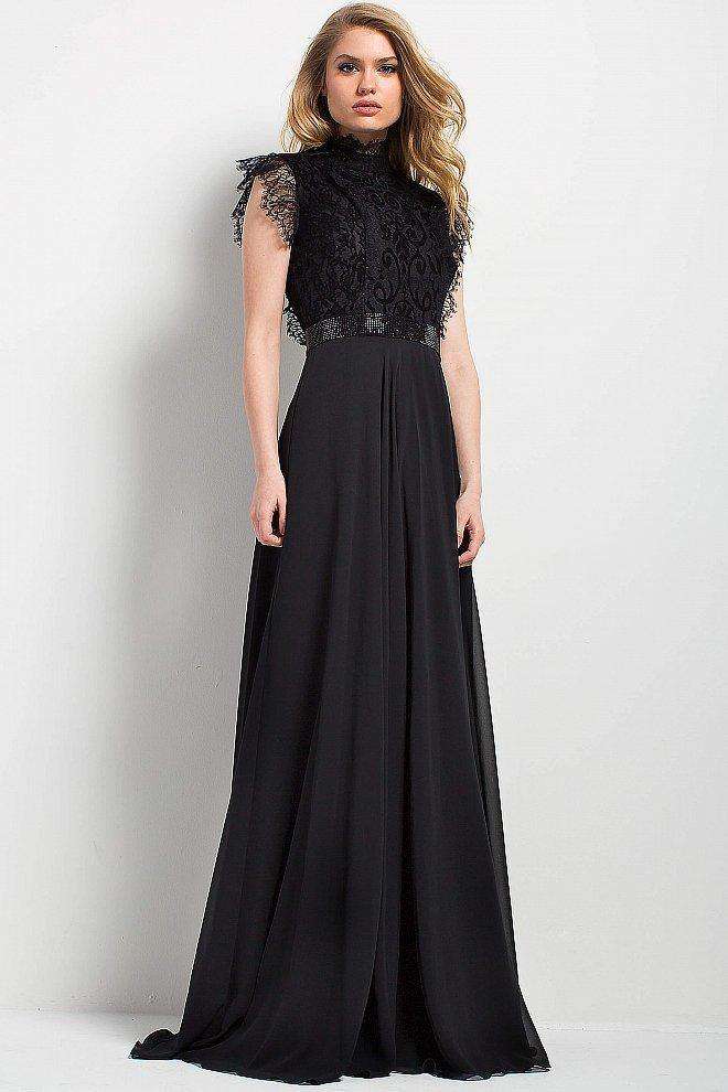 Jovani - 52089 High Neck Lace Evening Gown in Black