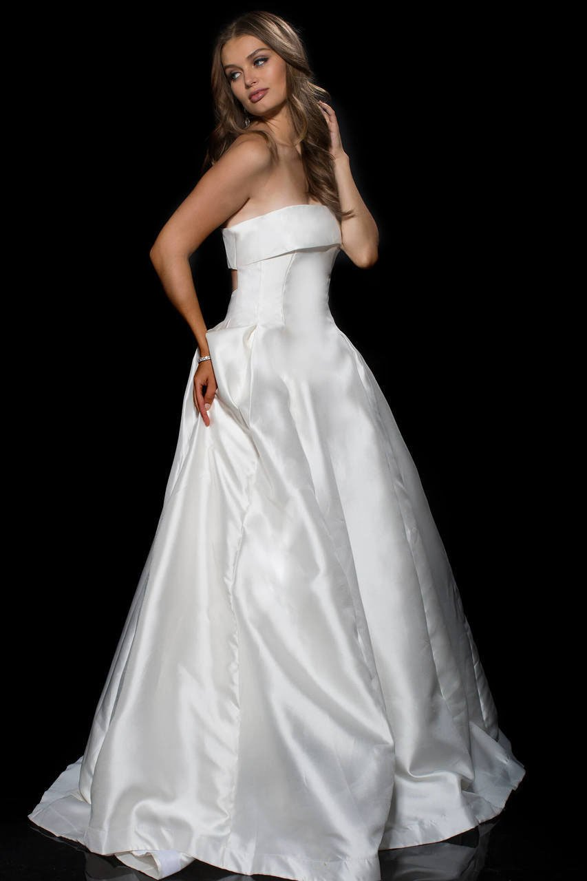 Jovani Cutout Back Strapless Detailed Mikado Ballgown 52152 in White