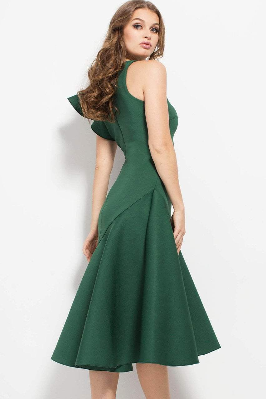 Jovani - 52252 Ruffled Shoulder Short Formal Scuba Dress in Green