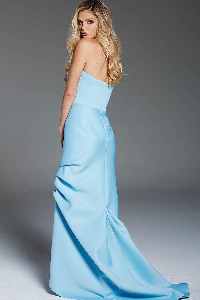Jovani - 53023 Pleated Strapless Sheath Gown in Blue
