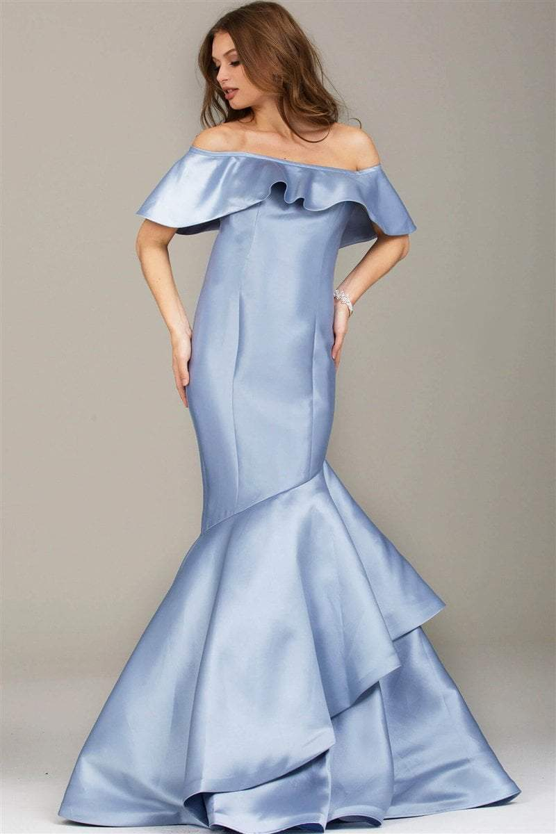 Jovani - Sleek Off Shoulder Mermaid Gown 54504 In Blue