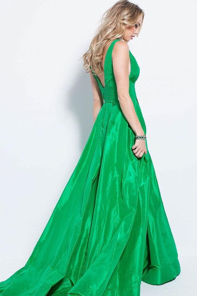 Jovani - 54812 Pleated Deep V-neck A-line Dress in Green