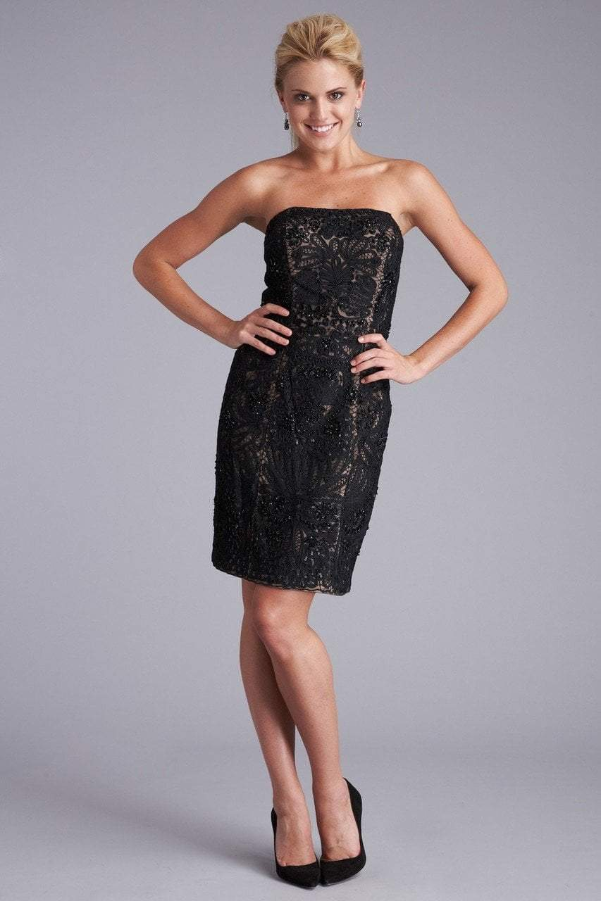 Sue Wong - S0300 Strapless Ribbon Appliqued Sheath Dress in Black