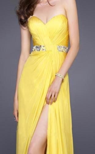La Femme - 15368 Diamond Embellished Waist Strapless Sweetheart Gown In Yellow