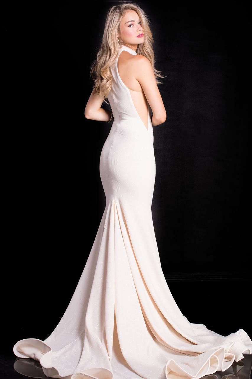 Jovani - 55185 High Halter Glitter Jersey Mermaid Gown In White